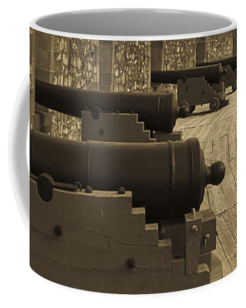 Canada Coffee Mug featuring the photograph Cannons At Louisberg Fortress by Darcy Michaelchuk