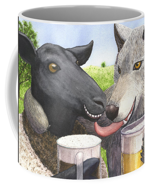 Sheep Coffee Mug featuring the painting Can't we all just get along by Catherine G McElroy