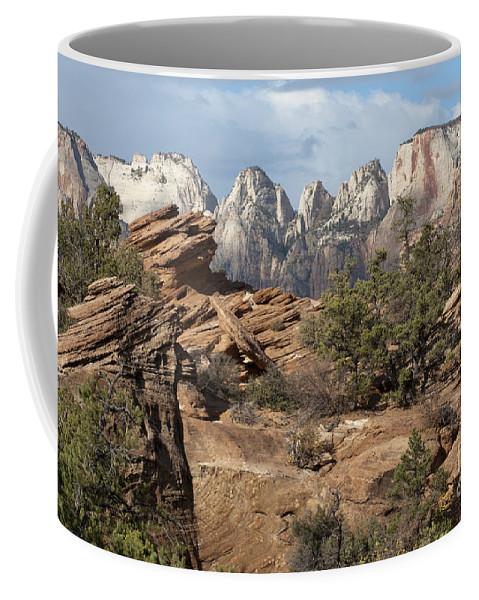 Sandra Bronstein Coffee Mug featuring the photograph Canyon Trail Overlook by Sandra Bronstein