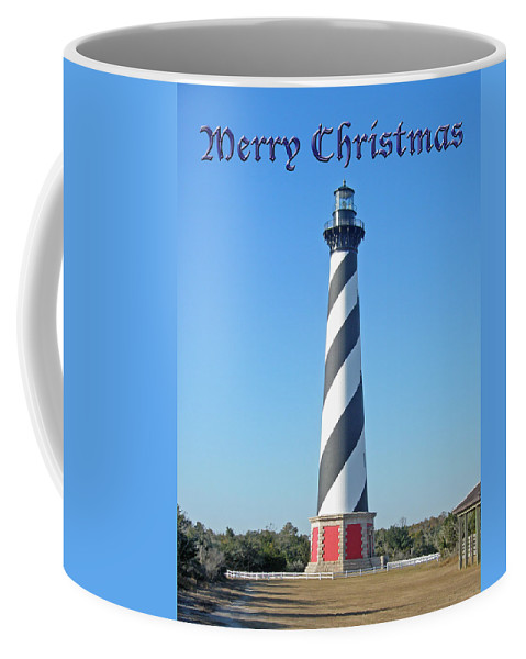 Christmas Coffee Mug featuring the photograph Cape Hatteras Lighthouse - Outer Banks - Christmas Card by Mother Nature