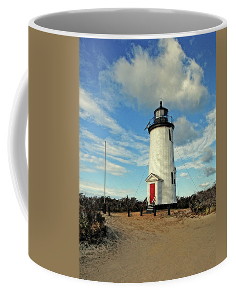 Cape Pogue Lighthouse.lighthouse Coffee Mug featuring the photograph Cape Pogue Lighthouse Marthas Vineyard by Dave Mills