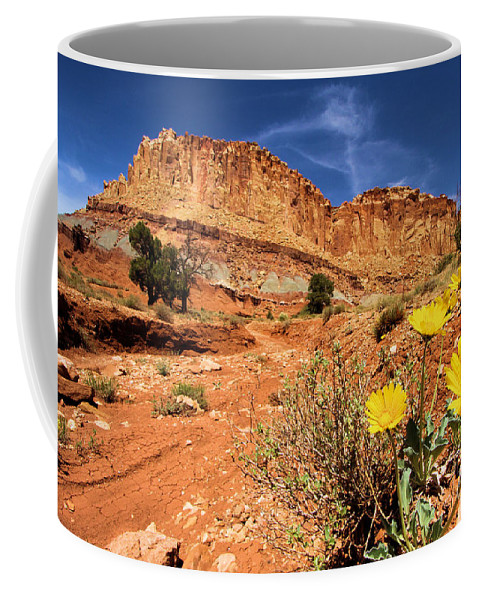 Capitol Reef National Park Coffee Mug featuring the photograph Capitol Flower Garden by Adam Jewell