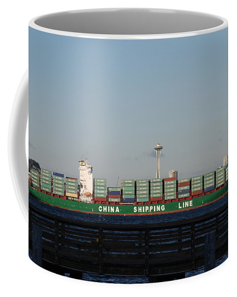 Cargo Coffee Mug featuring the photograph Cargo Ship In Seattle by Michael Merry
