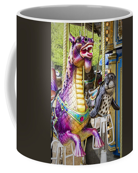 Art Coffee Mug featuring the photograph Carousal Dragon And Seal On A Merry-go-round by Randall Nyhof