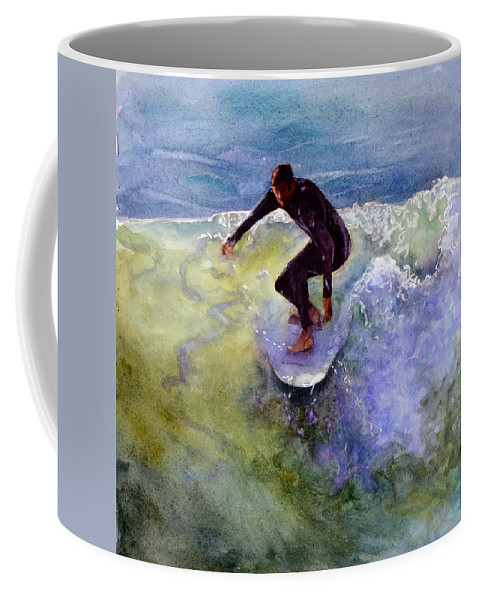 Wave Coffee Mug featuring the painting Catch A Wave by Bonnie Rinier