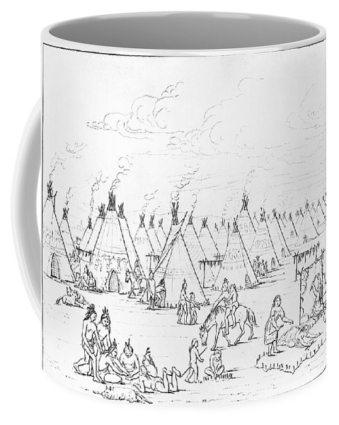 1844 Coffee Mug featuring the photograph Catlin: Comanche Village by Granger