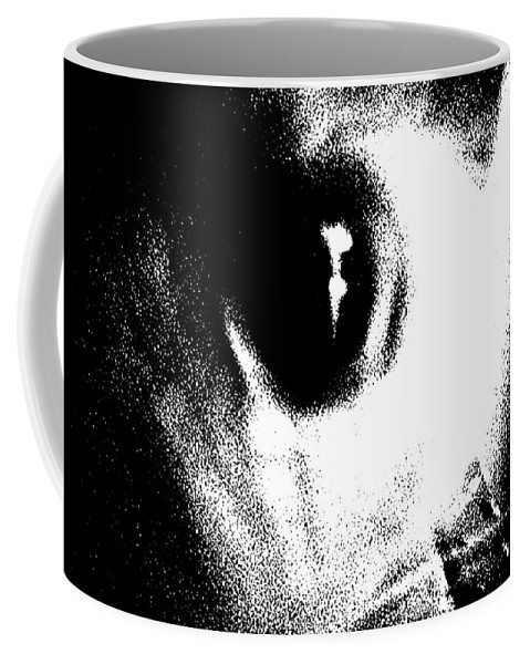 Cat Coffee Mug featuring the drawing Cat's Eye by George Pedro