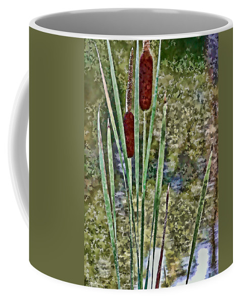 Cattails Coffee Mug featuring the photograph Cattails Along The Pond by Don Schwartz