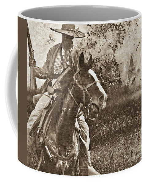 Reenactments Coffee Mug featuring the mixed media Cavalry Rides Again by Kim Henderson