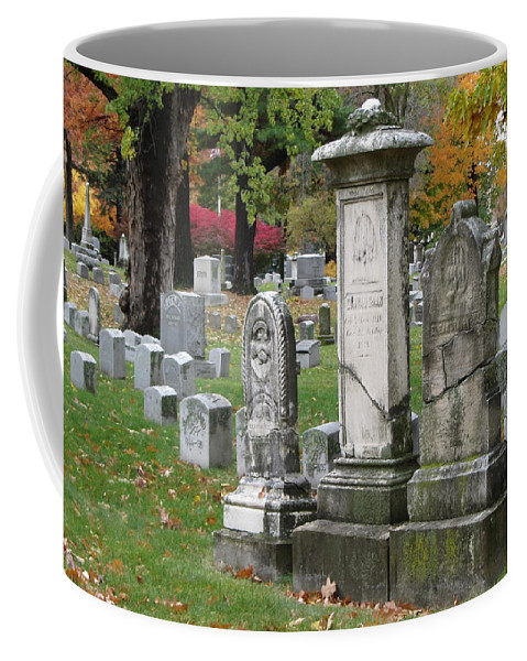 Cemetery Coffee Mug featuring the photograph Cemtery Cracked Tombstones by Anita Burgermeister