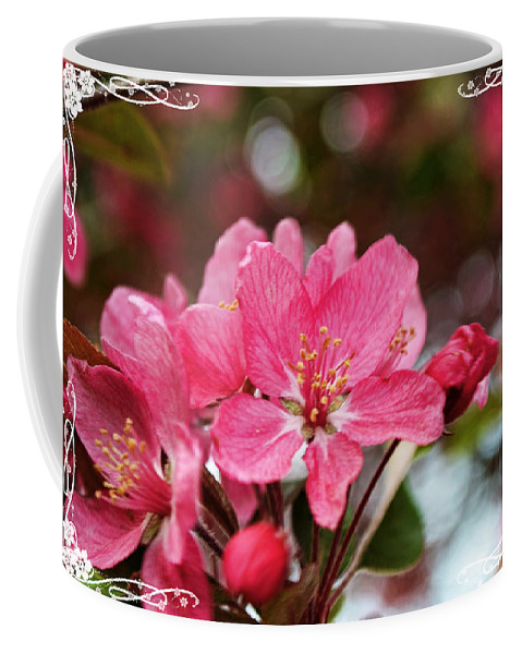 Nature Coffee Mug featuring the photograph Cherry Blossom Greeting Card Blank With Decorations by Debbie Portwood