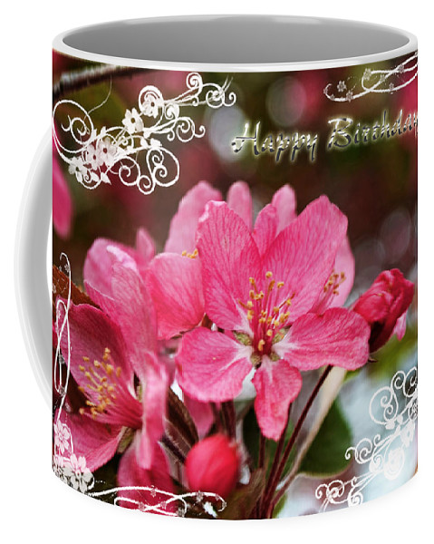 Nature Coffee Mug featuring the photograph Cherry Blossoms Greeting Card Bi by Debbie Portwood