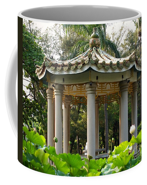 Pavilion Coffee Mug featuring the photograph Chinese Pavilion In A Lotus Flower Garden by Yali Shi