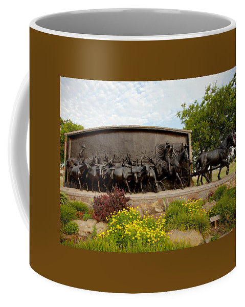 Landscape Coffee Mug featuring the photograph Chisholm Trail Monument by Toni Hopper