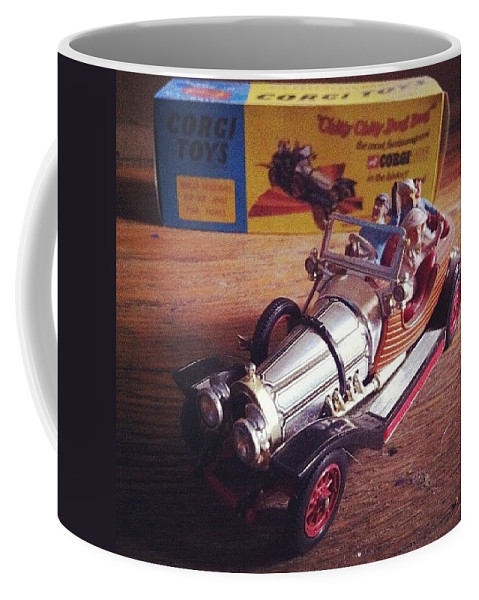 Car Coffee Mug featuring the photograph Chitty Chitty Bang Bang Corgi Toy by Katie Cupcakes