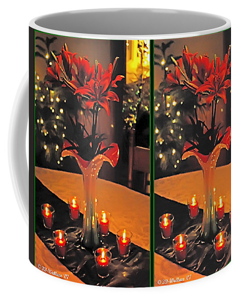 3d Coffee Mug featuring the photograph Christmas Arrangement - Gently Cross Your Eyes And Focus On The Middle Image by Brian Wallace