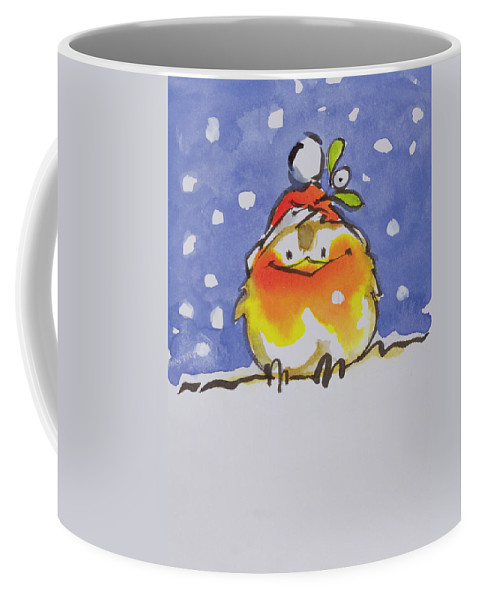 Christmas Robin (w/c And Ink On Paper) By Diane Matthes (contemporary Artist) Coffee Mug featuring the painting Christmas Robin by Diane Matthes
