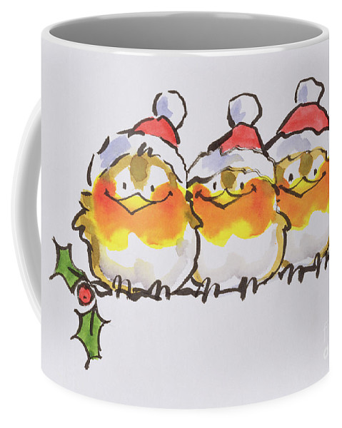Christmas Robins (ink And W/c On Paper) By Diane Matthes Coffee Mug featuring the painting Christmas Robins by Diane Matthes