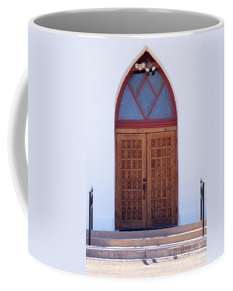 Christ Coffee Mug featuring the photograph Christ's Red Door by Alycia Christine