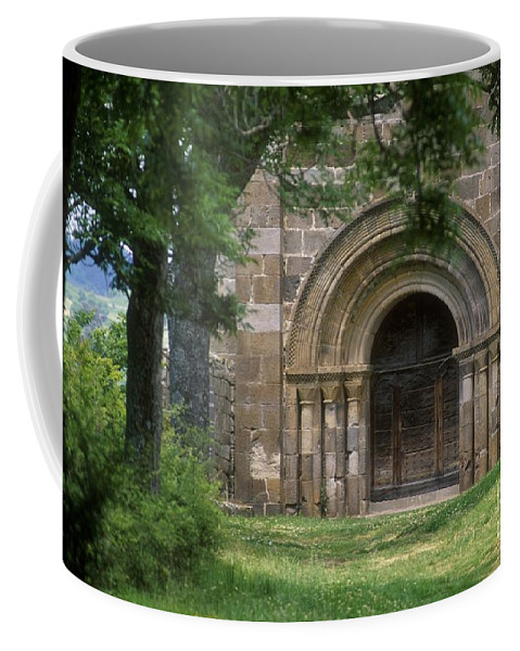 Art Roman Coffee Mug featuring the photograph Church Of Bredons.cantal. France by Bernard Jaubert