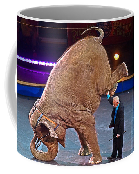 Elephant Coffee Mug featuring the photograph Circus Elephant by Susan Leggett