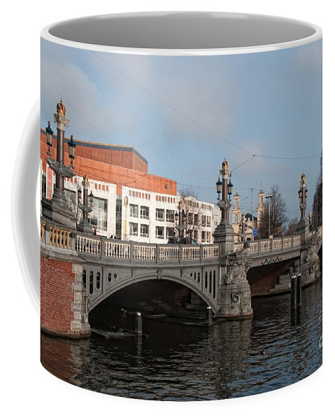 Along The River Coffee Mug featuring the digital art City Scenes From Amsterdam by Carol Ailles