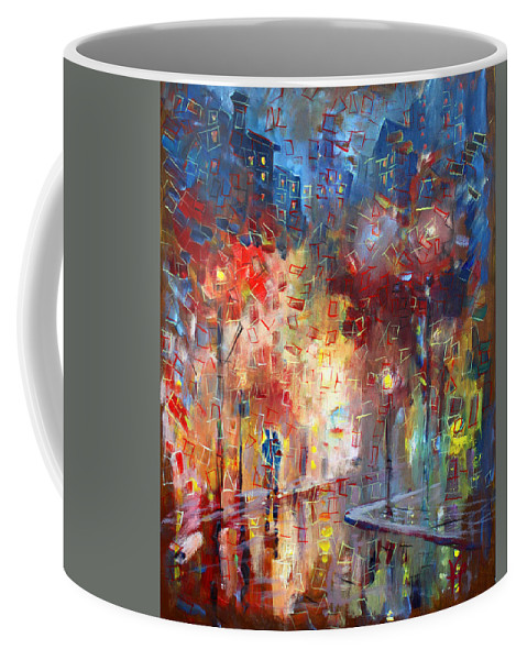 City Street Coffee Mug featuring the painting City Street by Viola El