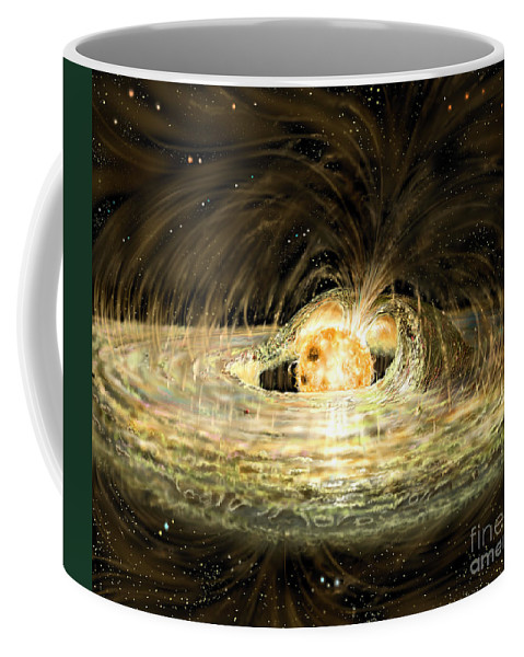 Accreting Coffee Mug featuring the digital art Classic T Tauri Star by Russell Kightley