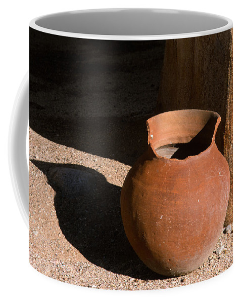 Mexican Pottery Coffee Mug featuring the photograph Clay Pot And Shadow by Sandra Bronstein