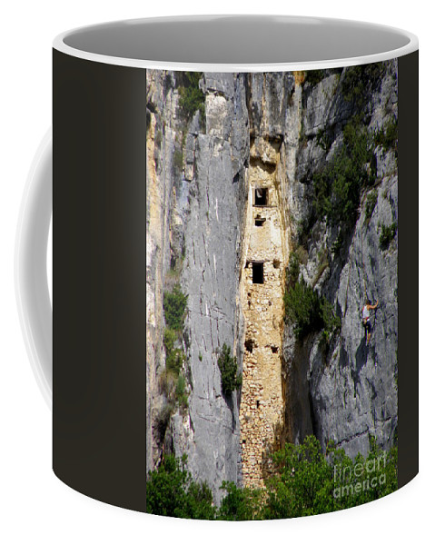 Mountain Climber Coffee Mug featuring the photograph Climber Near Prehistoric Cliff Dwelling by Lainie Wrightson