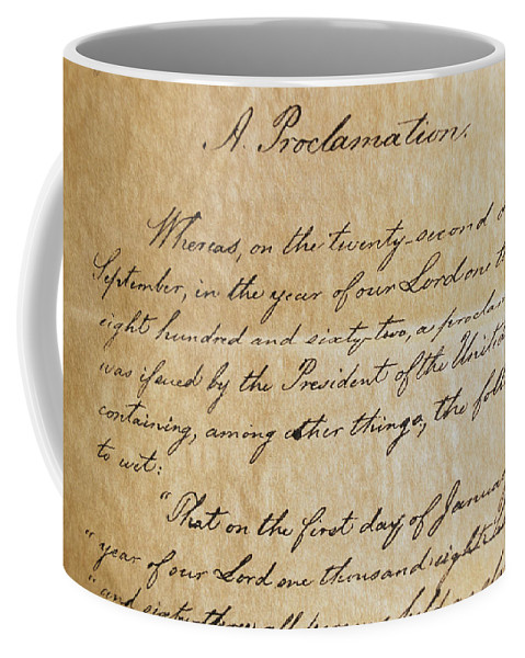 Legislation Coffee Mug featuring the photograph Close-up Of A Copy Of The Emancipation by Todd Gipstein
