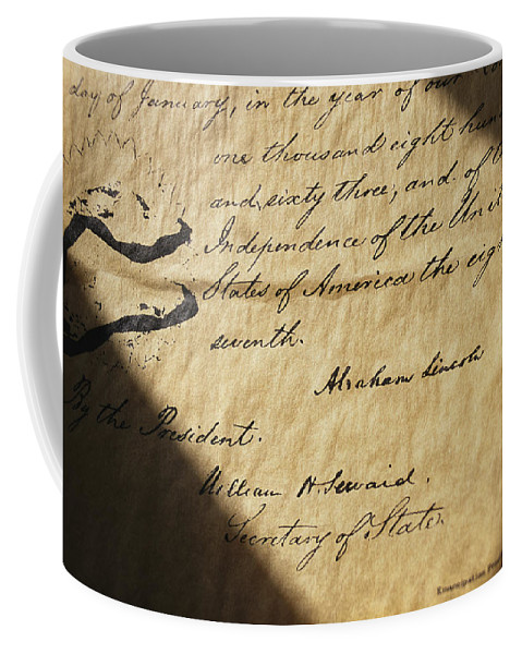 Legislation Coffee Mug featuring the photograph Close-up Of Emancipation Proclamation by Todd Gipstein