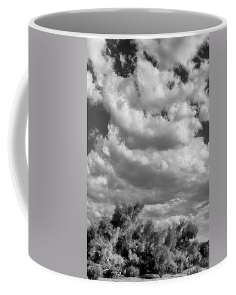 Desert Coffee Mug featuring the photograph Clouds Rising Bw Palm Springs by William Dey