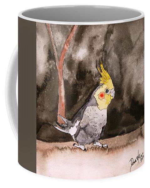 Cockatiel Coffee Mug featuring the painting Cockatiel by Derek Mccrea