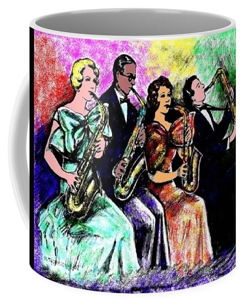 Nostalgia Coffee Mug featuring the drawing Coed Sax Section by Mel Thompson