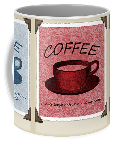 Coffee Coffee Mug featuring the digital art Coffee Flowers Scrapbook Triptych 1 by Angelina Vick