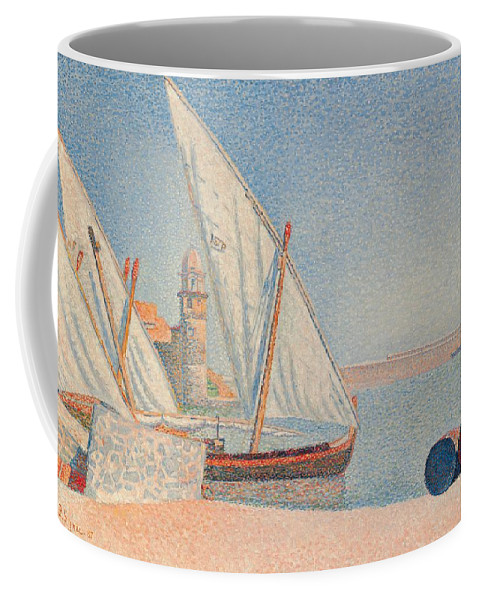 Collioure; Les Balancelles; Pointillist; Divisionist; Post Impressionist; Post-impressionist; France; French; Coast; Coastal; Seaside; Port; Harbour; Quay; Boats; Barrels; Belltower; Calm; Peaceful; Tranquil; Sunny; Idyllic Coffee Mug featuring the painting Collioure Les Balancelles by Paul Signac