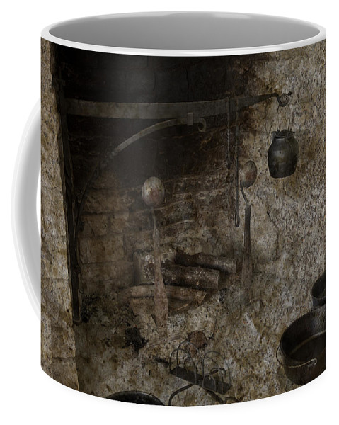 Colonial Coffee Mug featuring the photograph Colonial Fireplace Cooking Arrangement by John Stephens