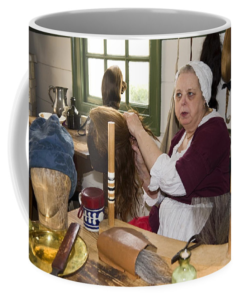 Wigmaker Working Coffee Mug featuring the photograph Colonial Wigmaker by Sally Weigand