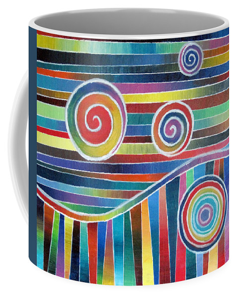Color Coffee Mug featuring the painting Color Wave And Suckers by Jeremy Aiyadurai
