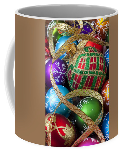 Colorful Ornaments Coffee Mug featuring the photograph Colorful Ornaments With Ribbon by Garry Gay