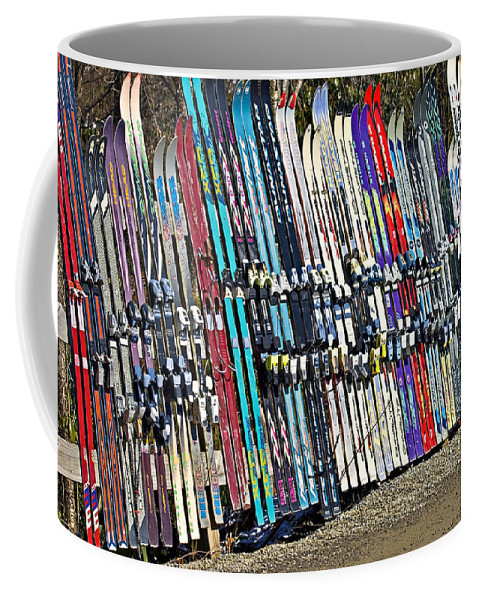 Sport Coffee Mug featuring the photograph Colorful Snow Skis by Susan Leggett