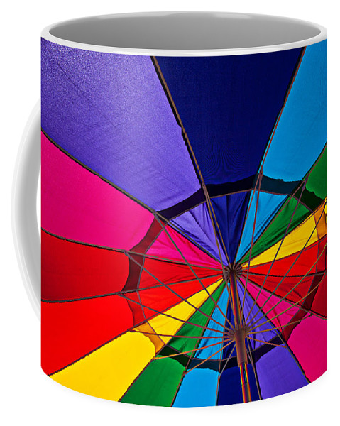 Colorful Umbrella Parasol Shade Colors Coffee Mug featuring the photograph Colorful Umbrella by Garry Gay