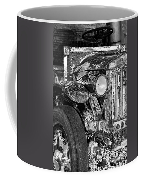 Car Coffee Mug featuring the photograph Colorful Vintage Car In Black And White by Phyllis Denton