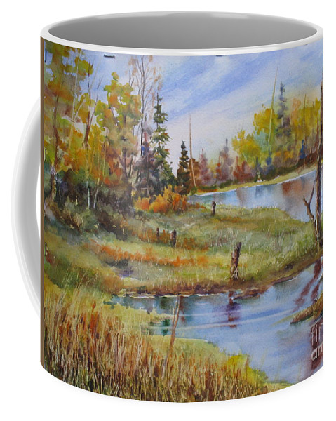 Coffee Mug featuring the painting colours Of Elk Island by Mohamed Hirji