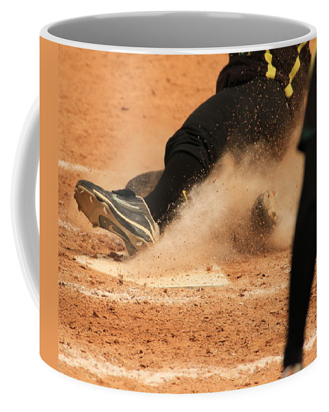 Softball Coffee Mug featuring the photograph Coming Home With A Slide by Laddie Halupa