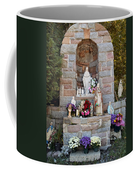 Shrine Coffee Mug featuring the photograph Comparison Mother Mary Shrine by Art Dingo