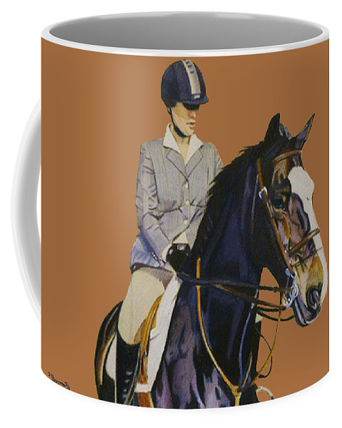 Hunter Coffee Mug featuring the painting Concentration - Hunter Jumper Horse And Rider by Patricia Barmatz