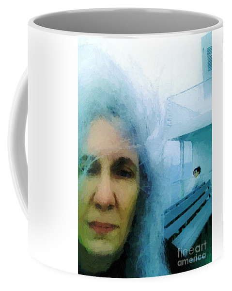 Woman Coffee Mug featuring the painting Confronting The Ferryman by RC DeWinter