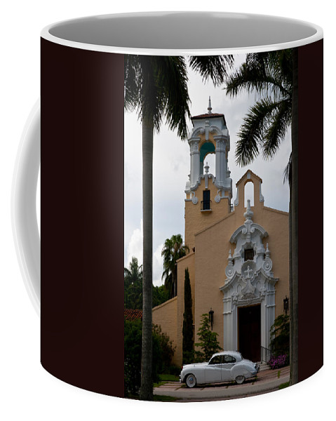 Architecture Coffee Mug featuring the photograph Congregational Church Front Door by Ed Gleichman